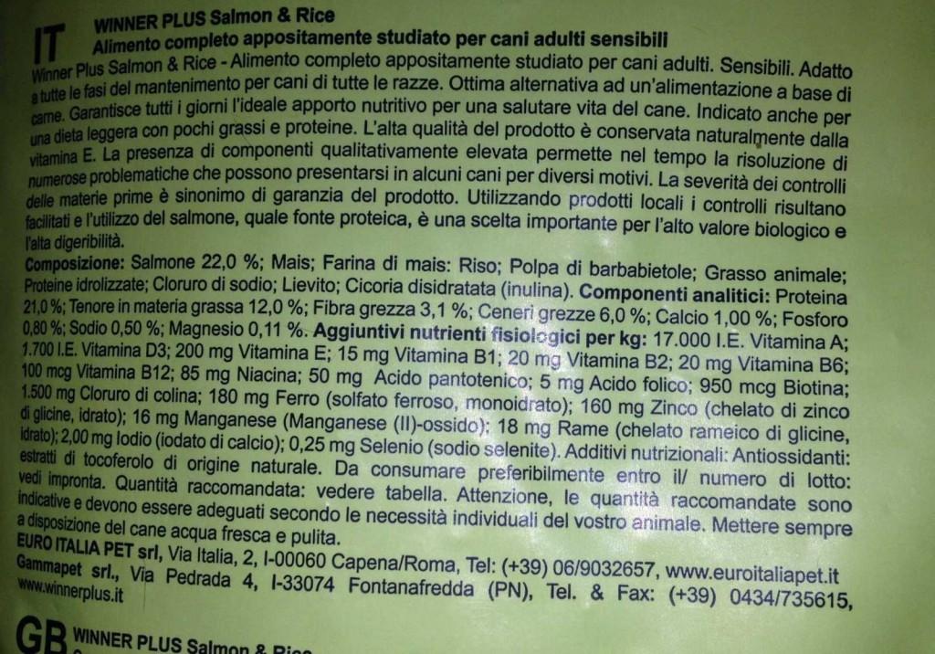 Winner plus riso salmone crocchette per cani opinioni e for Crocchette monge opinioni
